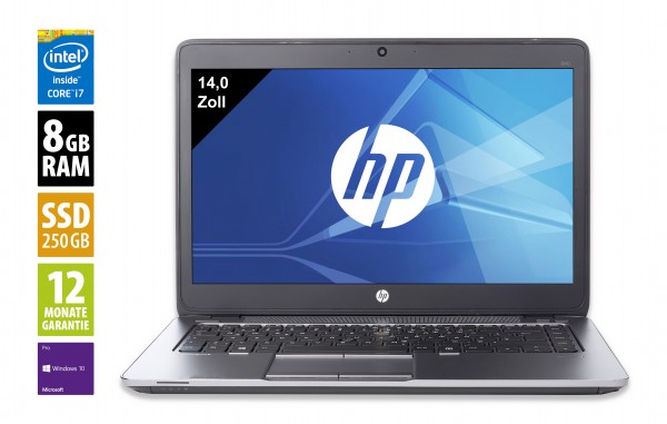 HP Elitebook 840 G4 - 14 Zoll - Core i7-7200U @ 2,5 GHz - 8GB RAM - 256GB SSD - FHD (1920x1080) - Webcam - Win10Pro