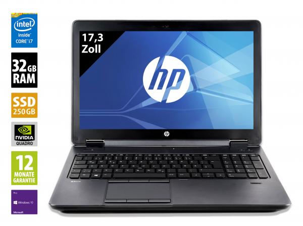 HP ZBook 17 G1 - 17,3 Zoll - Core i7-4800MQ @ 2,7 GHz - 32GB RAM - 500GB SSD - Nvidia Quadro K3100M - FHD (1920x1080) - Webcam - Win10Pro