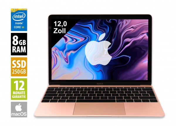 Apple MacBook (2017) rosé-gold - 12,0 Zoll - Core M3-7Y32 @ 1,2 GHz - 8GB RAM - 250GB SSD - (2304x1440) - Webcam - macOS