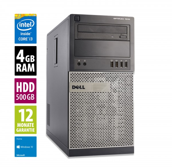 Dell Optiplex 7010 MT - Core i3-3220 @ 3,3 GHz - 4GB RAM - 500GB HDD - DVD-ROM - Win10Home