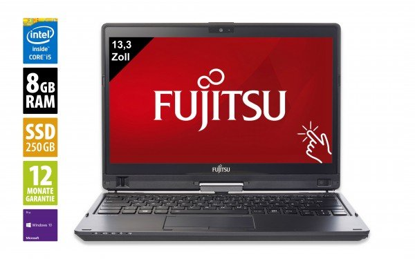 Fujitsu LifeBook T937 - 13,3 Zoll - Core i5-7200U @ 2,5 GHz - 8GB RAM - 250GB SSD - FHD (1920x1080) - Webcam - Touch - Win10Pro - Inkl. Dockingstation
