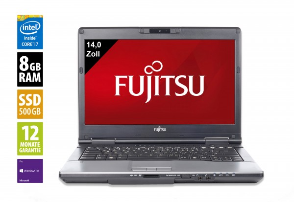 Fujitsu LifeBook S782 - 14,0 Zoll - Core i7-3540M @ 3.0 GHz - 8GB RAM - 500GB SSD - DVD-RW - WXGA (1366x768) - Webcam - Win10Pro