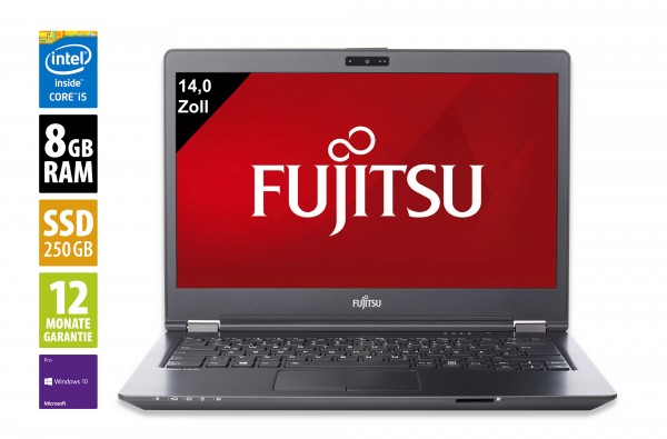 Fujitsu LifeBook U747 - 14,0 Zoll - Core i5-6200U @ 2,3 GHz - 8GB RAM - 250GB SSD - FHD (1920x1080) - Webcam - Win10Pro