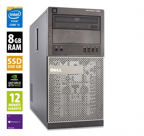 Dell OptiPlex 7020 MT - Core i5-4590 @ 3,3 GHz - 8GB RAM - 500GB SSD - DVD-RW - Nvidia GTX 1650 - Win10Pro