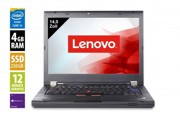Lenovo ThinkPad T420 - 14,0 Zoll - Core i5-2520M @ 2,5 GHz - 4GB RAM - 250GB SSD - DVD-RW - WXGA (1366x768) - Webcam - Win10Pro