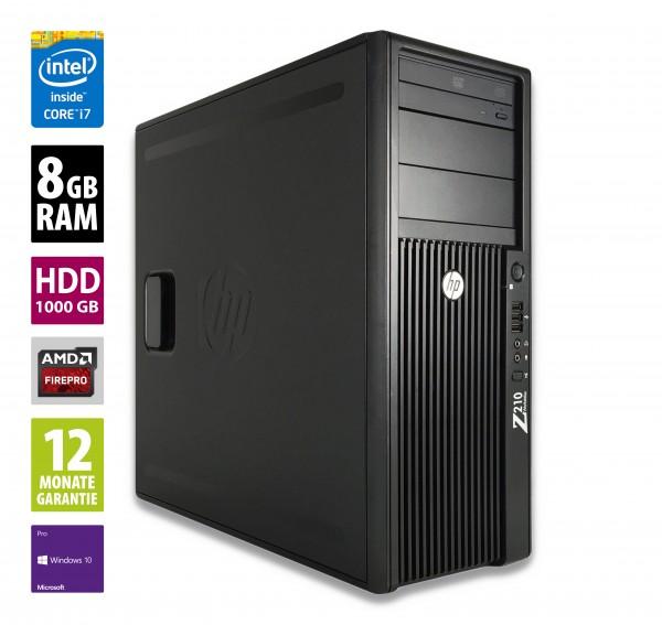 HP Workstation Z210 CMT - Core i7-2600 @ 3,4 GHz - 8GB RAM - 1000GB HDD - DVD-RW - ATI FirePro V4800 - Win10Pro