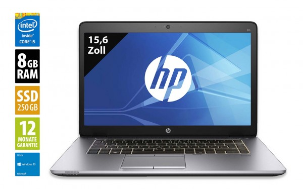 HP EliteBook 850 G3 - 15,6 Zoll - Core i5-6300U @ 2,4 GHz - 8GB RAM - 250GB SSD - FHD (1920x1080) - Webcam - Win10Home