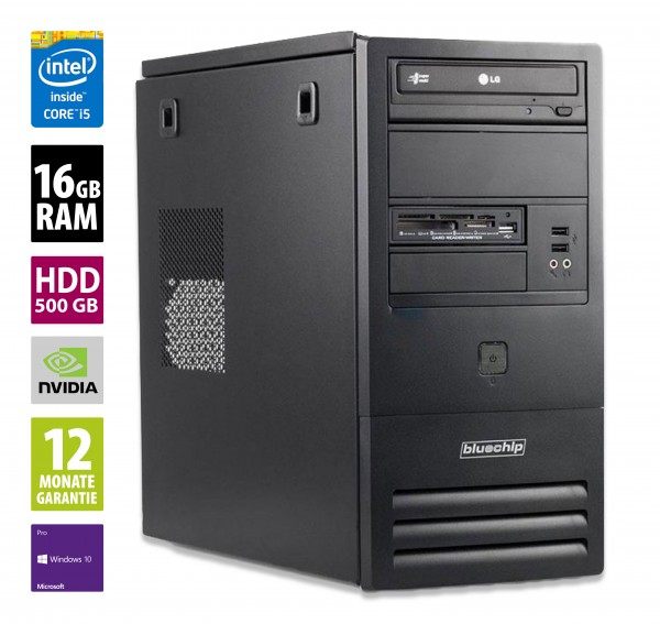 Bluechip BusinessLine MT - Core i5-4570 @ 3,2 GHz - 16GB RAM - 500GB HDD - DVD-RW - NVIDIA GeForce GT 610 - Win10Pro